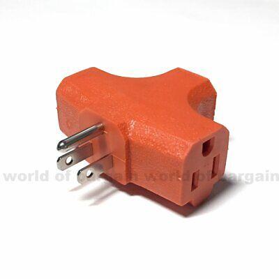 3 Way Outlet Adapter ORANGE Grounded 3 Prong Polarized AC Wall Power Plug E074