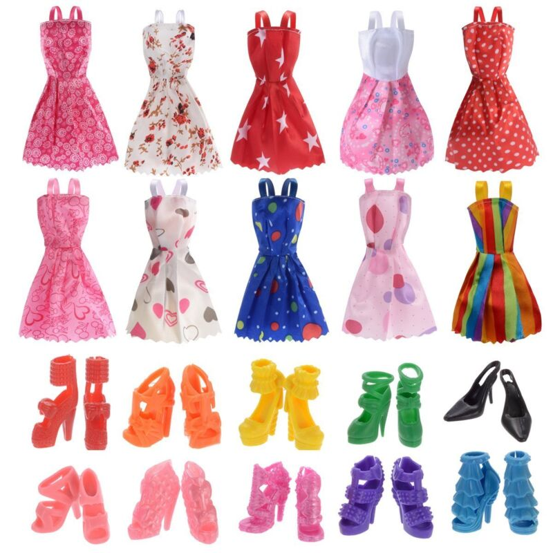 10 Pack Barbie Doll Clothes Party Gown Outfits with 10 Pairs Doll Shoes for Girl