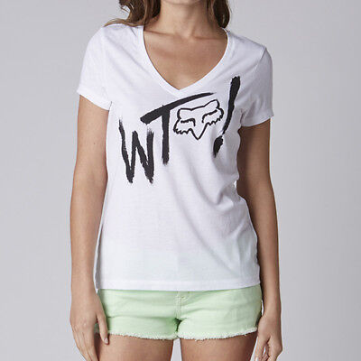 Fox Racing Fox Girl Villain Vneck Tee Shirt White](Girl Villains)