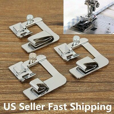 3Pcs Low Shank Wide Hem Roller Foot Presser Domestic Sewing Machine Part Set