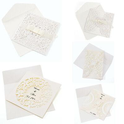 10X Laser Cut Ribbon Handmade Baby Shower Wedding Invitations  Envelopes Seals