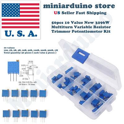 50pcs 10 Value New 3296w Multiturn Variable Resistor Trimmer Potentiometer Kit
