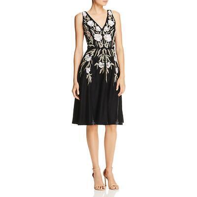 Aidan Mattox Women's Velvet Sequined Sleeveless Floral Evening Dress