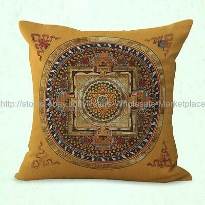 US SELLER-Tibetan mandala cushion cover sacred geometry cheap pillow covers (Cheap Pillow)