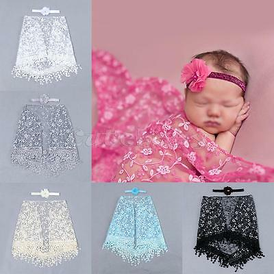 2PCS Newborn Baby Girl Lace Photography Prop Backdrop Wrap Cloth+Headband Outfit](Baby Girl Background)