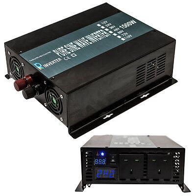 Power Inverter 1500W Pure Sine Wave Inverter 24V DC to 240V AC 50Hz LED Display
