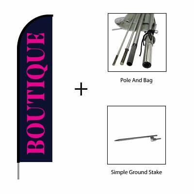 Boutique Shop Flag Feather Banner Swooper Flutter Pole Kit Advertising Sign 15ft