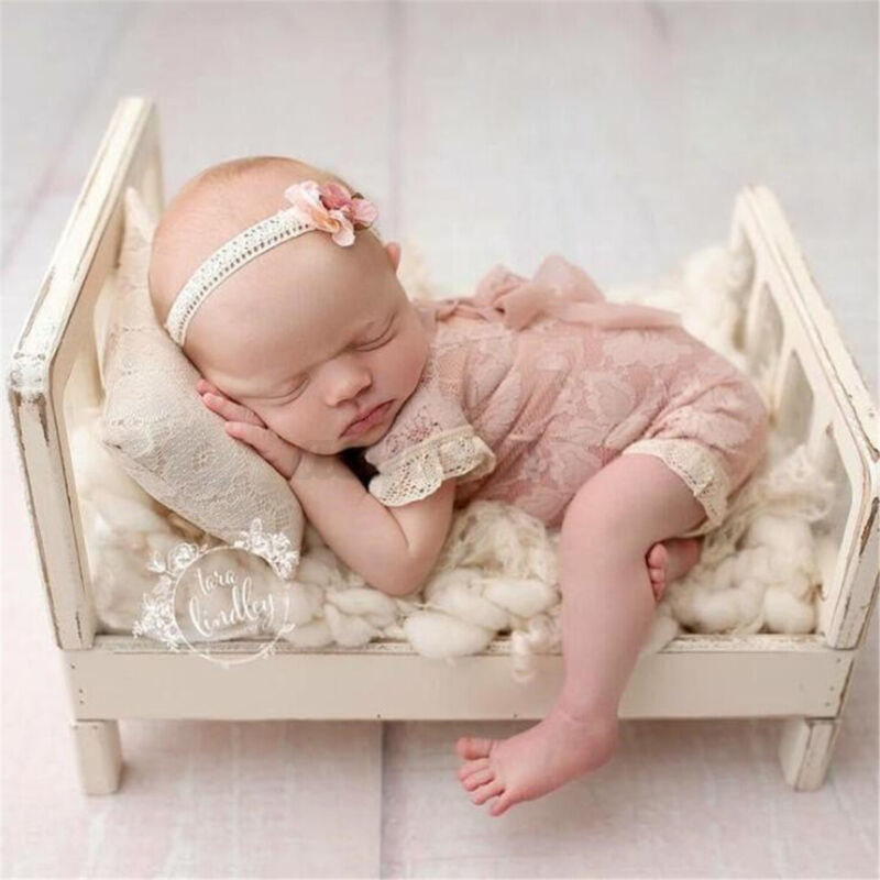 Newborn Baby Mini Wood Bed Detachable Wooden Photography Photo Props For  $