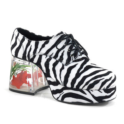 White Pimp Shoes (Black White Zebra Platform 70s Pimp Disco Mens Costume Shoes Clear Fish 11 12)