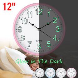 US Wall Clock Round Dark Glow Silent Quartz Indoor Outdoor Pink Noctilucent