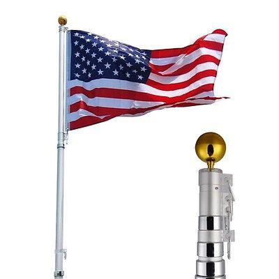 25ft Aluminum Telescoping Flagpole Kit Outdoor Gold Ball + 1 US America Flag New