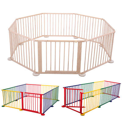 8 Panel Baby Playpen Foldable Wooden Frame Kid Play Center Yard Indoor&Outdoor