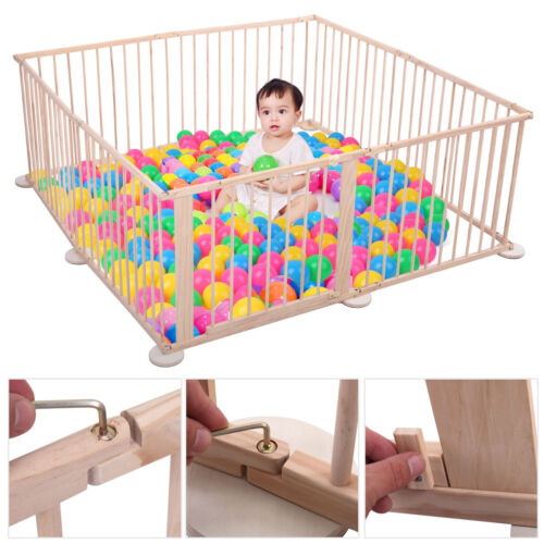 Baby Playpen 8 Panel Foldable Wooden Frame Kids Play Center Yard Indoor&Outdoor
