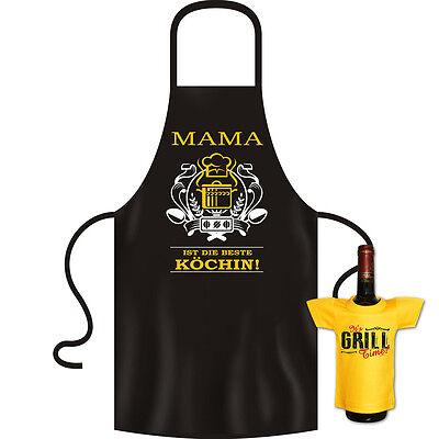 Geschenkset Mutter Kochschürze + Mini Flaschenshirt - Top Geschenk Schürze Mama (Mutter Schürze)