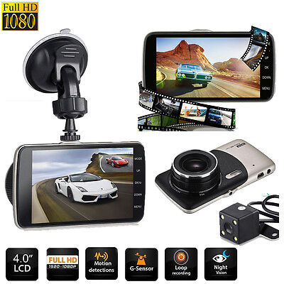 4'' HD 1080P Car DVR Camera Dash Cam Vehicle Dual Lens Video