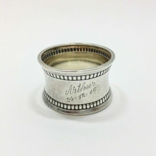 "Antique Danish 830 Silver Napkin Ring ""Arthur"" name engraving c. 1916"