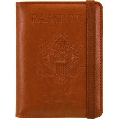 Passport Cover Holder Premium Leather Wallet RFID Blocking Travel Case Brown NEW