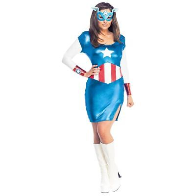 Superhero Costumes MS. Captain america Adult Female Halloween Fancy Dress S NEW