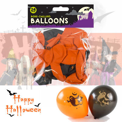 Scary Halloween Balloons (24 x Halloween Orange Black Party Balloons Trick or Treat Spooky Scary)