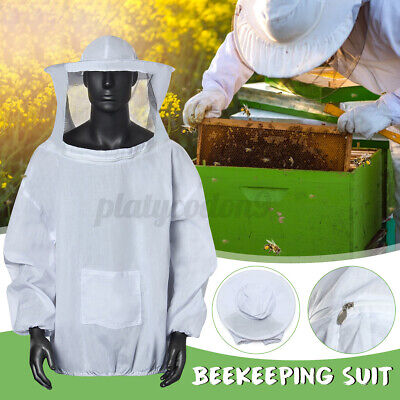 Beekeeping Protective Jacket Veil Dress Suit W Pull Hat Smock Equipment Cotton