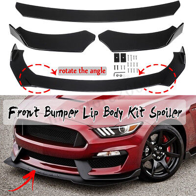 Glossy Black Front Bumper Lip Spoiler Wing Body Kit For Ford Mustang 1999-2019](Black Angle Wings)