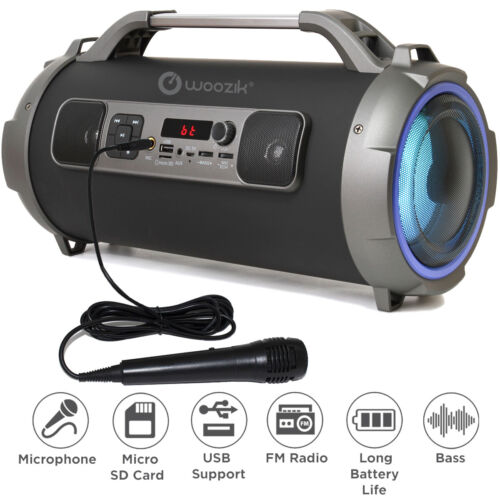 Bluetooth Portable Speaker Wireless Bass Stereo Black Pc Tablet Rechargeable LED