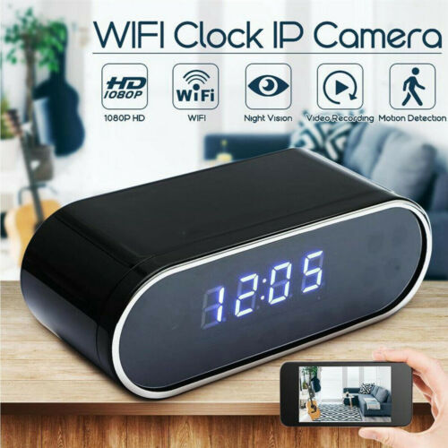 US HD 1080P Wireless WIFI Camera hide Alarm Clock Night Vision Home safety Cam