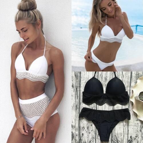 LP Damen Badeanzug Bikini Set Spitze Hohe Taille Pushup Volant Bademode Strand
