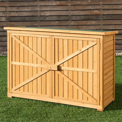 Double Doors Fir Wooden Garden Yard Shed Lockers Outdoor Storage Cabinet Unit