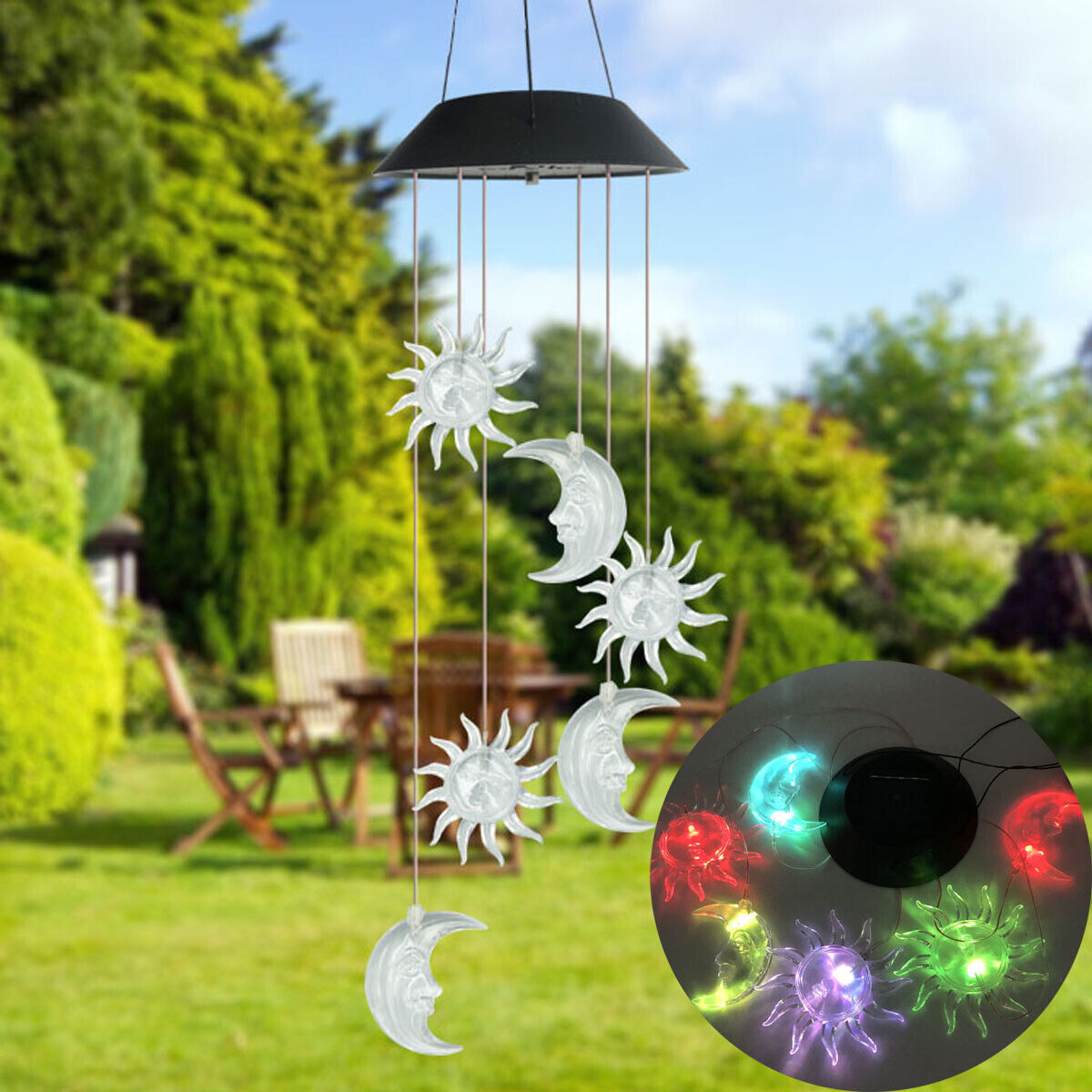 Color-Changing Outdoor LED Solar Sun and Moon Wind Chime Light Yard Garden Decor