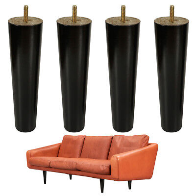 8'' Black Wooden Furniture Legs Replacement Feet  for Tables Sofa 5/16