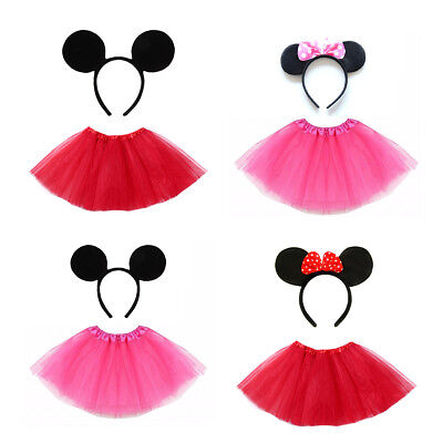 Girls Mickey and Minnie Mouse Red and Pink Tutu and Ears Halloween Fancy Dress ](Mickey And Minnie Halloween Costumes)