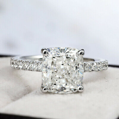 Fine 2.60 Ct Cushion Cut Diamond U-Pave Engagement Ring H, VS1 GIA Platinum 950 1