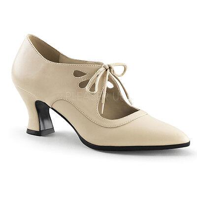 Renaissance Vintage Low Heel Cream Peasant Victorian Costume Mary Janes Shoes - Renaissance Peasant Shoes