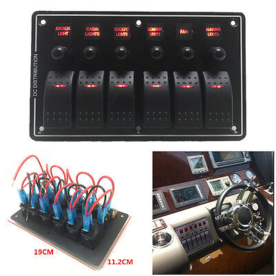 3 Pin 6 Gang Led Rocker Switch Panel Circuit Breaker 12v 24v Car Rv Boat Marine
