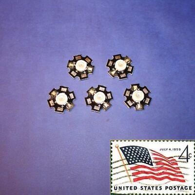 5x Blue 3w 20mm Star Wide Angle Leds Light Chip Smd Smt Usa