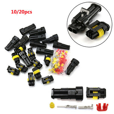 20 Set Waterproof Electrical Wire Superseal Connector Kit Plug 2 Pin Way Car Us