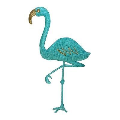 ID 1626 Flamingo Walking Patch Bird Lawn Decoration Embroidered Iron On Applique