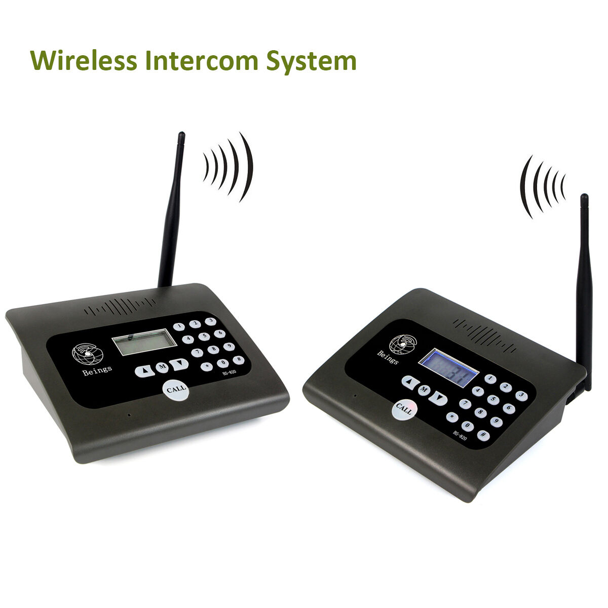 2pcs Full Duplex Home Indoor Wireless Voice Calling Intercom System w/ Antennas