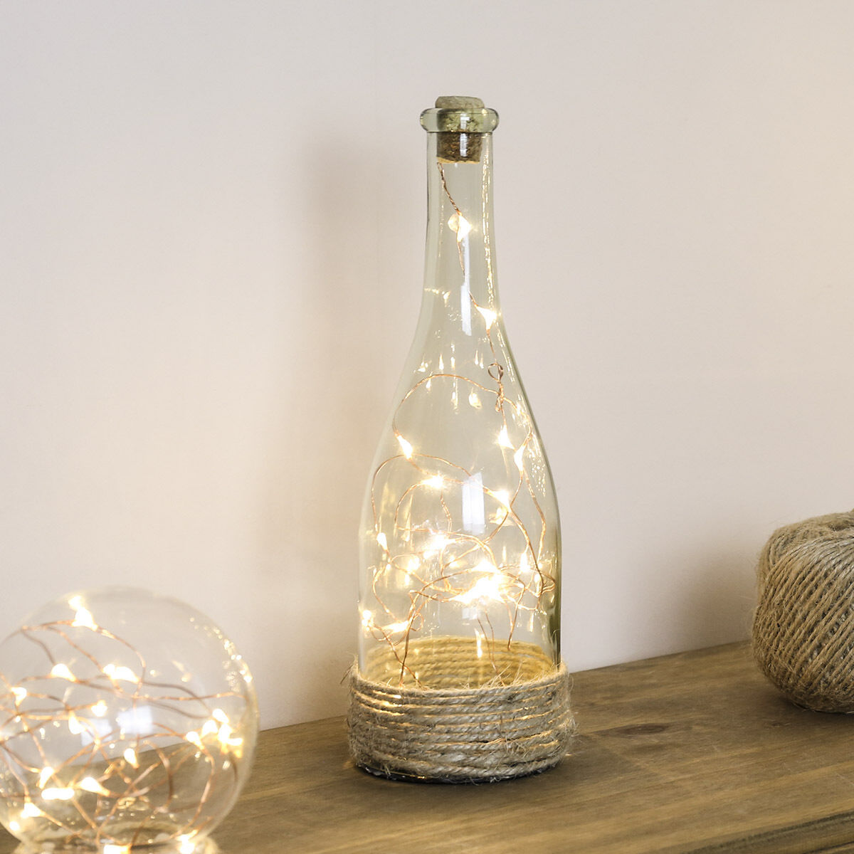 Indoor battery operated glass bottle wedding copper wire for Glass bottles with lights in them