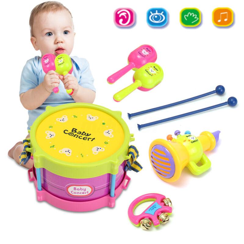 5Pcs/Set Baby Toy Roll Jazz Drum Toddler Musical Instrument Kit Kid  A