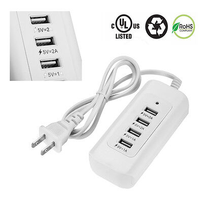 4USB Outlet Power Flay US Charging Plug Power Adapter Station For Cell phone