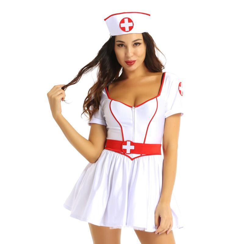 Hot Flash Nurse White Dress Costume Halloween Fancy Dress