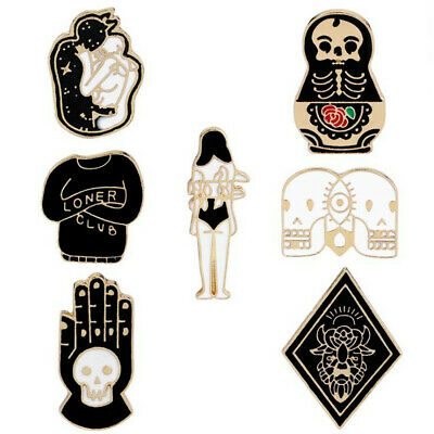 Halloween Skulls Cartoon (1PC Unisex Cartoon Skull Girl Palm Enamel Brooch Pin Halloween Fashion)