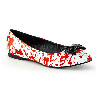 Bloody Pointed Toe Flats Nurse Zombie Gory Halloween Costume White/Red Shoes