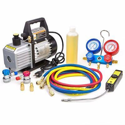 AC Refrigeration Gauge Gage Vacuum Pump Leak Detector Tool Set Kit Charging