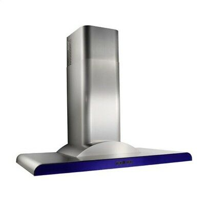 "Best Broan K779936SSB 36"" Stainless Steel Range Hood with Blue Trim"