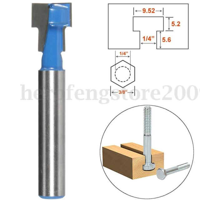 "3/8""x1/4"" Shank T-Slot Cutter Wood Woodworking Router Bit Steel Handle Milling"