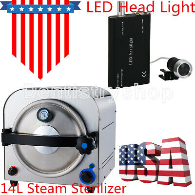 Usa14l Dental Lab Equipment Autoclave Steam Sterilize Led Head Light Fda Ce