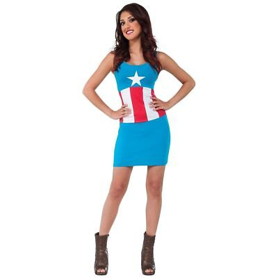 Avengers Captain America Dream Ladies Tank Costume Dress Size 6-10 Rubies 66360